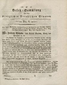 Gesetz-Sammlung für die Königlichen Preussischen Staaten, 1. April 1817, nr. 6.