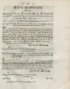 Gesetz-Sammlung für die Königlichen Preussischen Staaten, 13. November 1817, nr. 17.