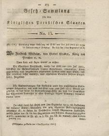 Gesetz-Sammlung für die Königlichen Preussischen Staaten, 15. Dezember 1818, nr. 15.
