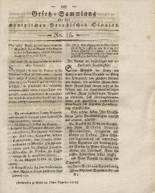 Gesetz-Sammlung für die Königlichen Preussischen Staaten, 28. Dezember 1818, nr. 16.