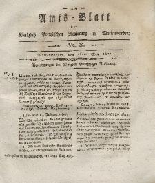 Amts-Blatt der Königlich Preußischen Regierung zu Marienwerder, 16. Mai 1817, No. 20.