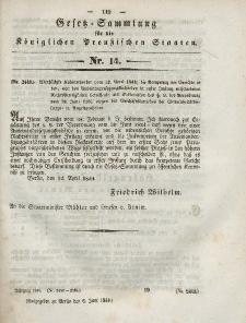 Gesetz-Sammlung für die Königlichen Preussischen Staaten, 6. Juni 1844, nr. 14.