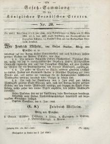 Gesetz-Sammlung für die Königlichen Preussischen Staaten, 7. Juli 1844, nr. 20.