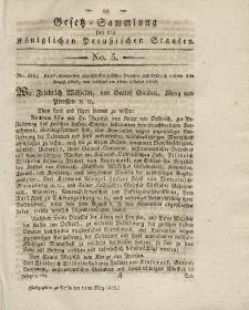 Gesetz-Sammlung für die Königlichen Preussischen Staaten, 18. März 1819, nr. 5.
