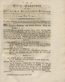 Gesetz-Sammlung für die Königlichen Preussischen Staaten, 22. April 1819, nr. 8.