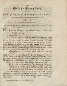Gesetz-Sammlung für die Königlichen Preussischen Staaten, 14. Dezember 1820, nr. 18.