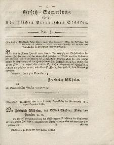 Gesetz-Sammlung für die Königlichen Preussischen Staaten, 9. Januar 1821, nr. 1.