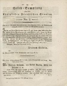 Gesetz-Sammlung für die Königlichen Preussischen Staaten, 17. Januar 1821, nr. 2.
