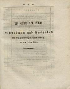 Gesetz-Sammlung für die Königlichen Preussischen Staaten (Allgemeiner Etat der Einnahmen und Ausgaben), 1821