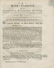 Gesetz-Sammlung für die Königlichen Preussischen Staaten, 21. Juni 1821, nr. 7.