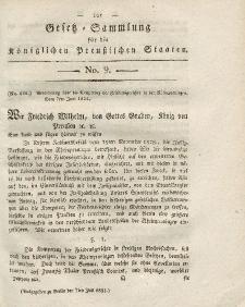 Gesetz-Sammlung für die Königlichen Preussischen Staaten, 7. Juli 1821, nr. 9.