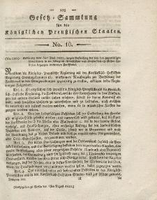 Gesetz-Sammlung für die Königlichen Preussischen Staaten, 1. August 1821, nr. 10.