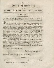 Gesetz-Sammlung für die Königlichen Preussischen Staaten, 1. September 1821, nr. 12.