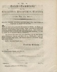 Gesetz-Sammlung für die Königlichen Preussischen Staaten, 16. Oktober 1821, nr. 14.