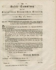 Gesetz-Sammlung für die Königlichen Preussischen Staaten, 4. Dezember 1821, nr. 17.