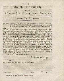 Gesetz-Sammlung für die Königlichen Preussischen Staaten, 27. Dezember 1821, nr. 20.