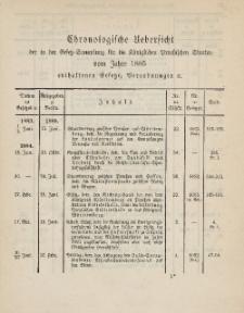 Gesetz-Sammlung für die Königlichen Preussischen Staaten (Chronologische Uebersicht), 1885