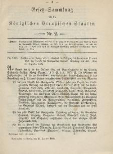Gesetz-Sammlung für die Königlichen Preussischen Staaten, 15. Januar 1885, nr. 2.