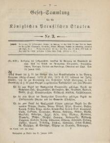 Gesetz-Sammlung für die Königlichen Preussischen Staaten, 31. Januar 1885, nr. 3.