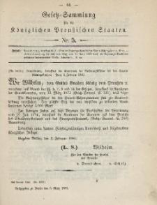 Gesetz-Sammlung für die Königlichen Preussischen Staaten, 5. März 1885, nr. 5.