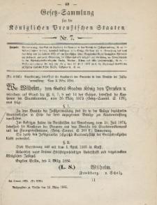Gesetz-Sammlung für die Königlichen Preussischen Staaten, 16. März 1885, nr. 7.