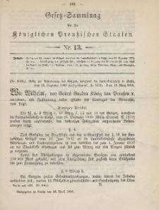 Gesetz-Sammlung für die Königlichen Preussischen Staaten, 16. April 1885, nr. 13.