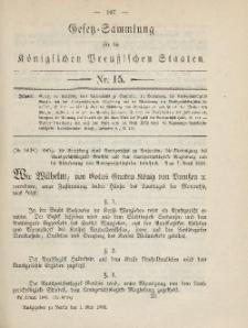 Gesetz-Sammlung für die Königlichen Preussischen Staaten, 1. Mai 1885, nr. 15.