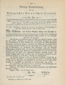 Gesetz-Sammlung für die Königlichen Preussischen Staaten, 16. Mai 1885, nr. 18.