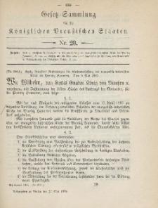 Gesetz-Sammlung für die Königlichen Preussischen Staaten, 27. Mai 1885, nr. 20.
