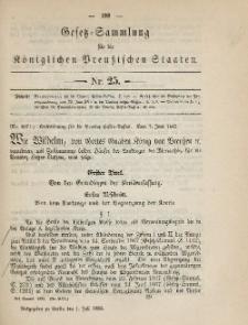 Gesetz-Sammlung für die Königlichen Preussischen Staaten, 1. Juli 1885, nr. 25.