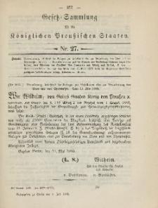 Gesetz-Sammlung für die Königlichen Preussischen Staaten, 4. Juli 1885, nr. 27.