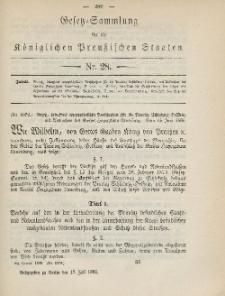Gesetz-Sammlung für die Königlichen Preussischen Staaten, 17. Juli 1885, nr. 28.