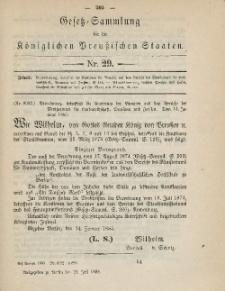 Gesetz-Sammlung für die Königlichen Preussischen Staaten, 24. Juli 1885, nr. 29.