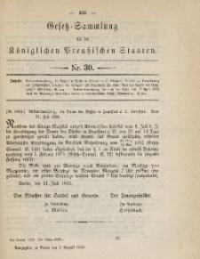 Gesetz-Sammlung für die Königlichen Preussischen Staaten, 8. August 1885, nr. 30.