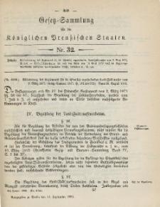 Gesetz-Sammlung für die Königlichen Preussischen Staaten, 14. September 1885, nr. 32.