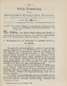 Gesetz-Sammlung für die Königlichen Preussischen Staaten, 21. September 1885, nr. 33.