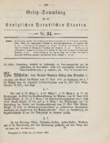 Gesetz-Sammlung für die Königlichen Preussischen Staaten, 10. Oktober 1885, nr. 34.