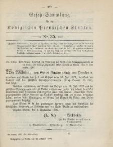 Gesetz-Sammlung für die Königlichen Preussischen Staaten, 29. Oktober 1885, nr. 35.
