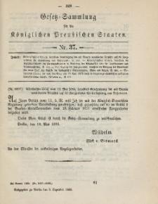 Gesetz-Sammlung für die Königlichen Preussischen Staaten, 3. Dezember 1885, nr. 37.