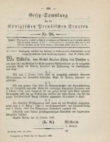 Gesetz-Sammlung für die Königlichen Preussischen Staaten, 14. Dezember 1885, nr. 38.