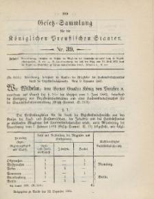 Gesetz-Sammlung für die Königlichen Preussischen Staaten, 22. Dezember 1885, nr. 39.
