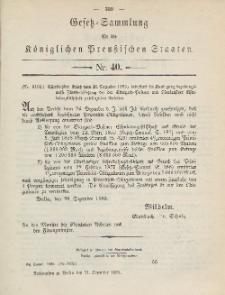 Gesetz-Sammlung für die Königlichen Preussischen Staaten, 31. Dezember 1885, nr. 40.
