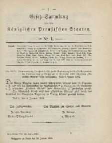 Gesetz-Sammlung für die Königlichen Preussischen Staaten, 24. Januar 1894, nr. 1.