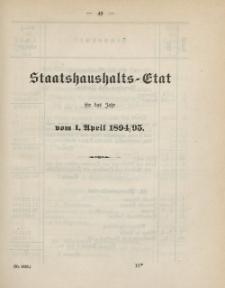 Gesetz-Sammlung für die Königlichen Preussischen Staaten, (Staatshaushalts-Etat für das Jahr von 1. April 1894/95)