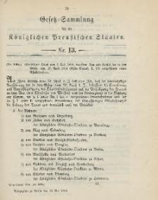 Gesetz-Sammlung für die Königlichen Preussischen Staaten, 12. Mai 1894, nr. 13.