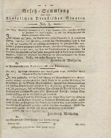 Gesetz-Sammlung für die Königlichen Preussischen Staaten, 12. Januar 1822, nr. 1.