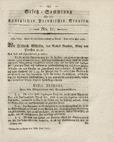 Gesetz-Sammlung für die Königlichen Preussischen Staaten, 25. Juni 1822, nr. 11.