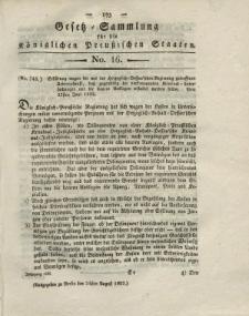 Gesetz-Sammlung für die Königlichen Preussischen Staaten, 24. August 1822, nr. 16.