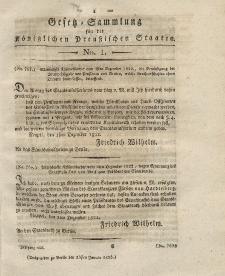 Gesetz-Sammlung für die Königlichen Preussischen Staaten, 23. Januar 1823, nr. 1.