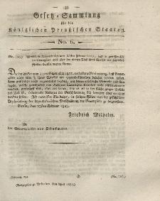 Gesetz-Sammlung für die Königlichen Preussischen Staaten, 8. April 1823, nr. 6.